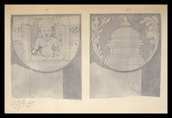 Two drawings of sculpture on the stupa rail at Bodhgaya (Bihar), made by Kittoe during his investigation of the site. January 1847.